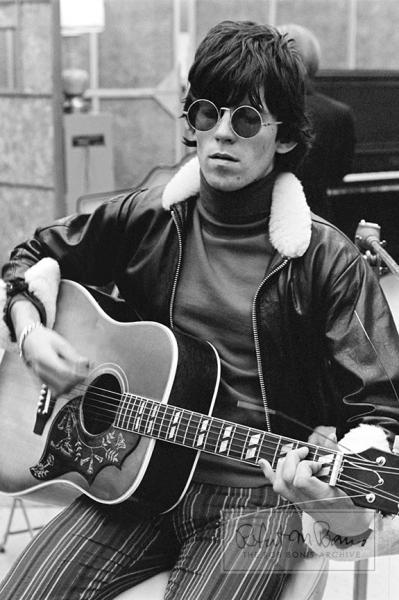 Keith Richards with his Gibson Hummingbird Guitar, RCA Studios, December, 1965 #1