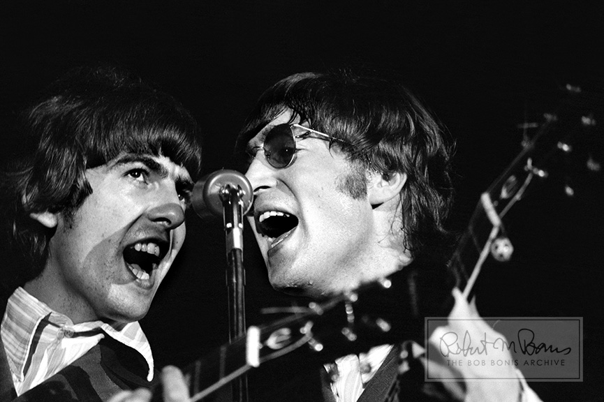George Harrison and John Lennon On Stage, JFK Stadium, Philadelphia, PA, August 16, 1966 #1