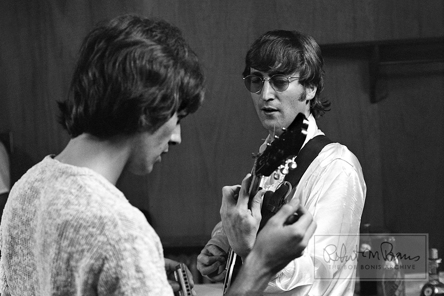 John Lennon, George Harrison, Backstage, JFK Stadium, Philadelphia, PA, August 16, 1966 #1