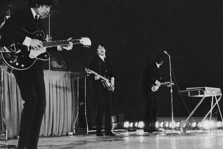 George Harrison, John Lennon and Paul McCartney, Metropolitan Stadium, Bloomington, MN, August 21, 1965 #5