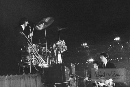 Ringo Starr, John Lennon and Paul McCartney, Metropolitan Stadium, Bloomington, MN, August 21, 1965