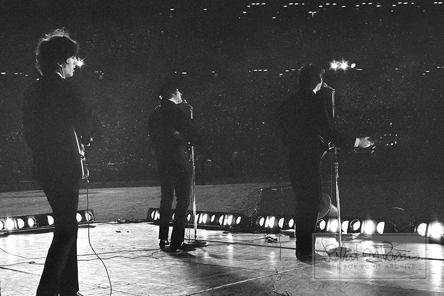 George Harrison, John Lennon and Paul McCartney, Metropolitan Stadium, Bloomington, MN, August 21, 1965 #7