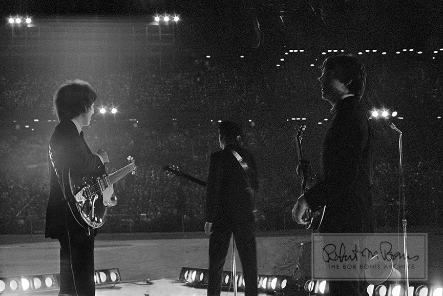 George Harrison, John Lennon and Paul McCartney, Metropolitan Stadium, Bloomington, MN, August 21, 1965 #1