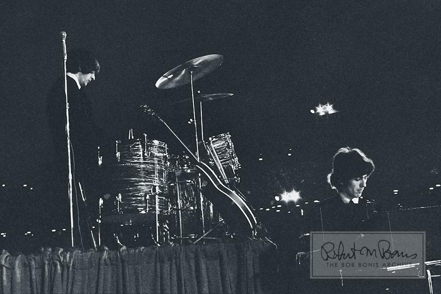 Ringo Starr and George Harrison, Metropolitan Stadium, Bloomington, MN August 21, 1965