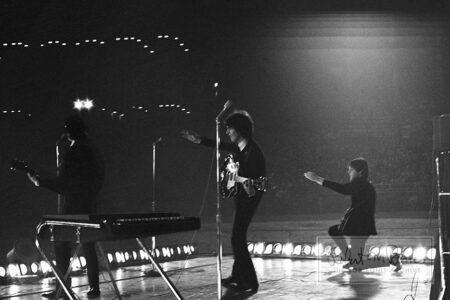 George Harrison, John Lennon and Paul McCartney, Metropolitan Stadium, Bloomington, MN, August 21, 1965 #8