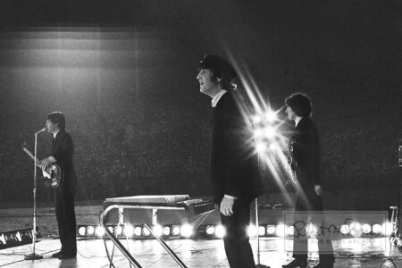 George Harrison, John Lennon and Paul McCartney, Metropolitan Stadium, Bloomington, MN, August 21, 1965 #9