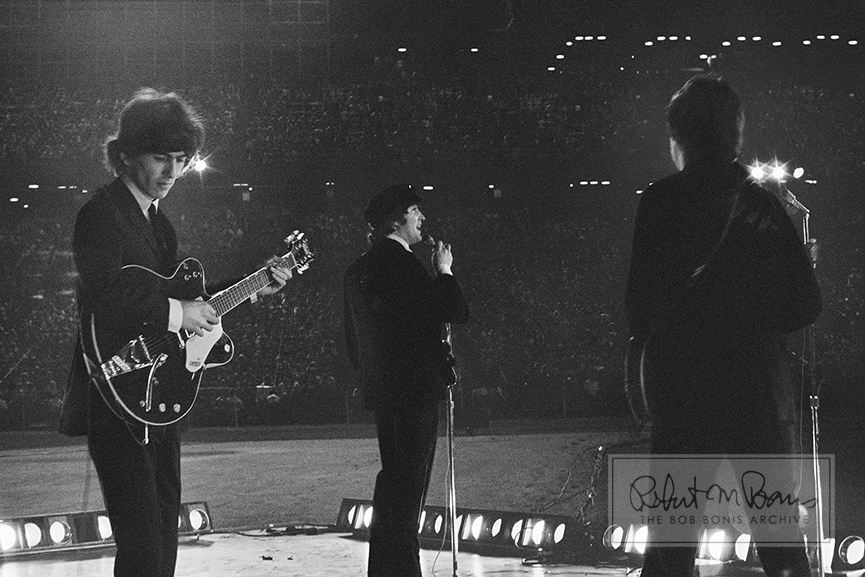 George Harrison, John Lennon and Paul McCartney, Metropolitan Stadium, Bloomington, MN, August 21, 1965 #2