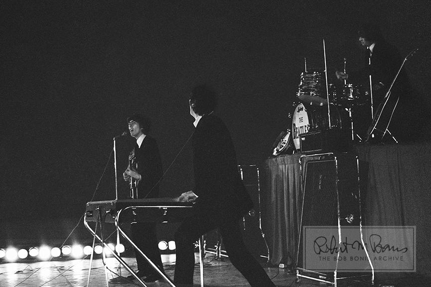 George Harrison, John Lennon and Ringo Starr, Metropolitan Stadium, Bloomington, MN, August 21, 1965