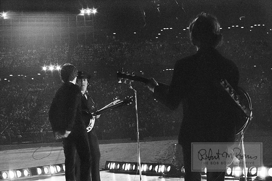 George Harrison, John Lennon and Paul McCartney, Metropolitan Stadium, Bloomington, MN, August 21, 1965 #3