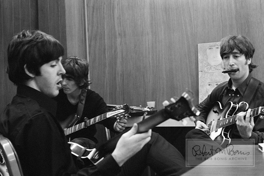 Paul McCartney George Harrison And John Lennon Backstage Olympia