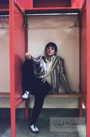John Lennon back stage at The Club House, Busch Memorial Stadium, St. Louis, Missouri, August 21, 1966. Photograph by Bob Bonis and reprinted by the Bob Bonis Archive.