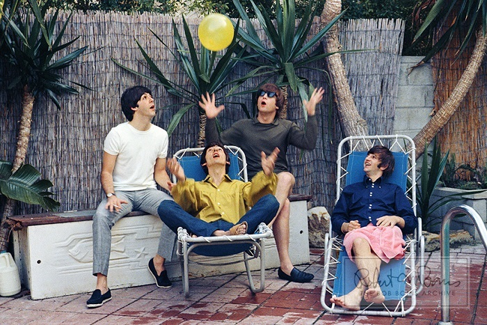 Paul McCartney, John Lennon, George Harrison and Ringo Starr are photographed by Bob Bonis while on vacation in Bel Air, California on August 23-24, 1964