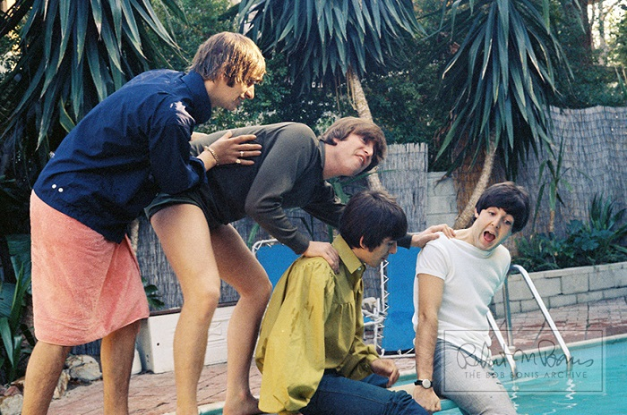 the beatles, john lennon, paul mccartney, george harrison, ringo starr in bel air california august 23-24 1964 photo by bob bonis