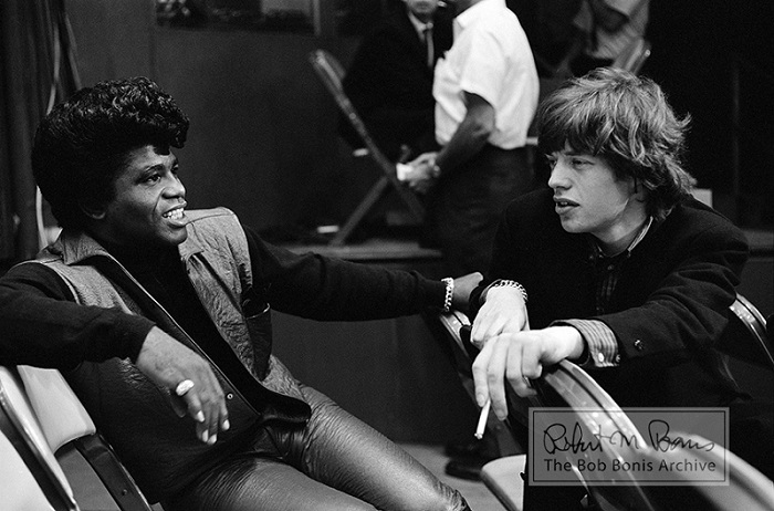 Mick Jagger and James Brown meet for the first time back stage at the T.A.M.I. show on october 28, 1964