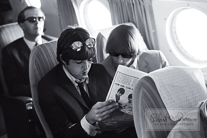 paul mccartney and ringo starr en rout to san fancisco august 30 1965